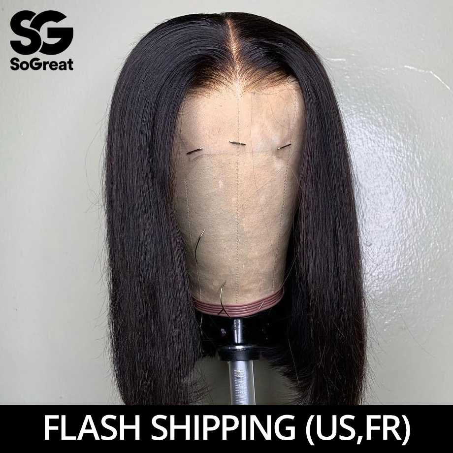 Brazilian Straight Lace Front Human Hair Wigs HD Short Natural Afro Bob Wig Full Remy Hair Long Pre Plucked For Black Women 13x4
