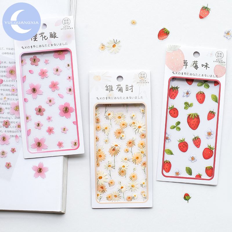 YueGuangXia 4 Designs 2pcs/lot Flowers Seasonal Kawaii Stickers Scrapbooking Bullet Journal Popular Deco Plain Sheet Stickers image