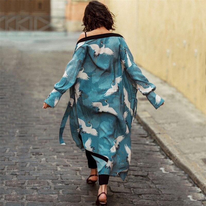 Bohemian Printed Bikini Cover-ups Elegant Self Belted Kimono Dress Tunic Women Plus Size Beach Wear Swim Suit Cover Up Q1228 8