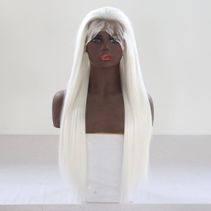 QUINLUX WIGS White Long Silky Straight Synthetic Lace Front Wigs HandTied Wig for Women Anime Cosplay Wig Free Part Heat Fiber