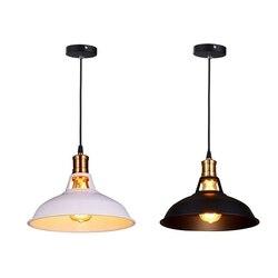 2 sztuk styl industrialny retro prostota Edison żyrandol w stylu Vintage lampa sufitowa z metalu błyszczące styl skandynawski odcień (biały i czarny)|Wiszące lampki|   -