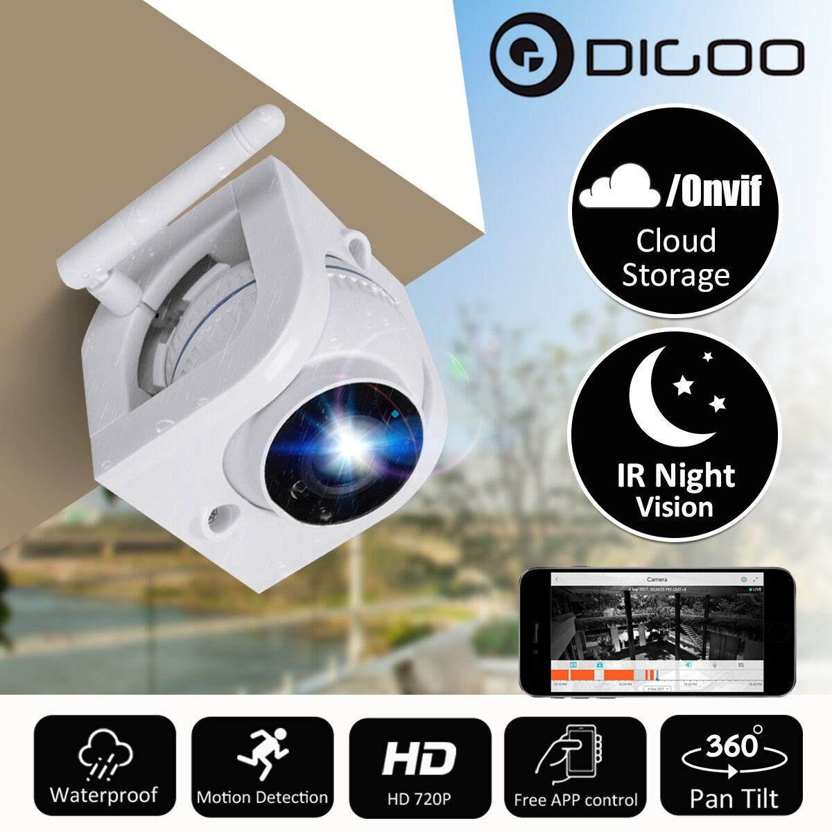 Digoo DG-W02f HD 720P Wireless Cloud IP Camera Waterproof Outdoor Home Security WiFi Surveillance Night Vision CCTV Baby Monitor