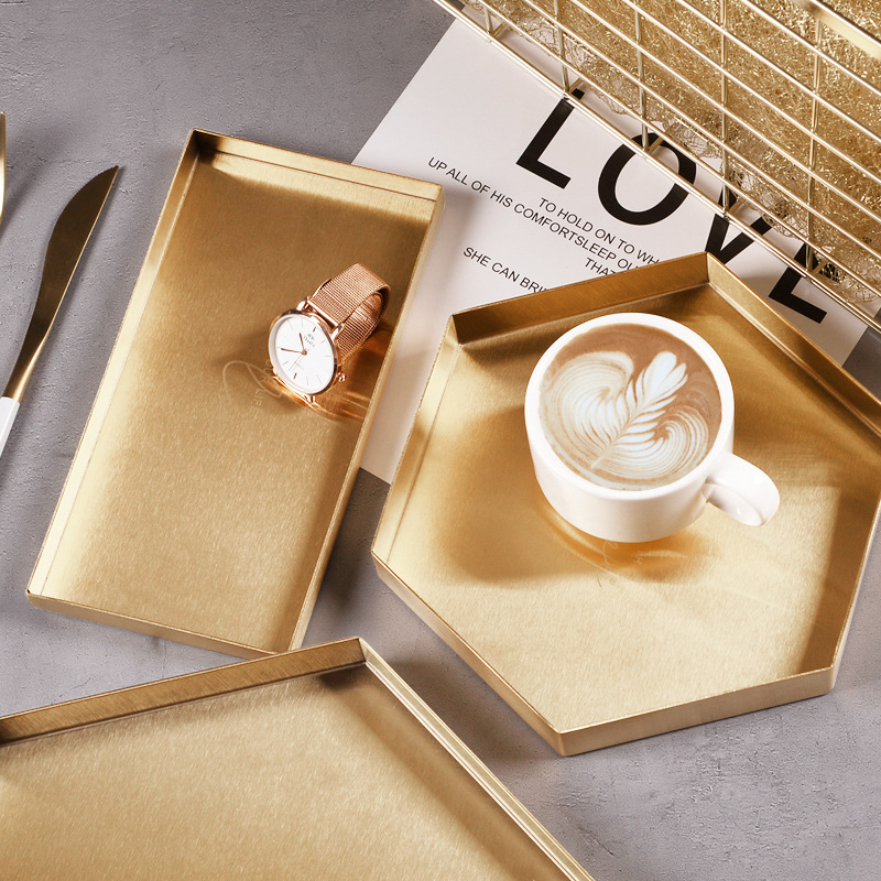 Gold Geometry Stainless Steel Storage Tray Nordic Porch Sundry Arrangement Tray Cosmetic Storage Box Dinner Plate