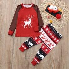 Олень семейная одежда Рождественская Пижама для мамы и дочки; костюм; Спортивный костюм для малышей для девочки, мальчика, ребёнка для взрослых Семейные комплекты костюм; спортивный костюм