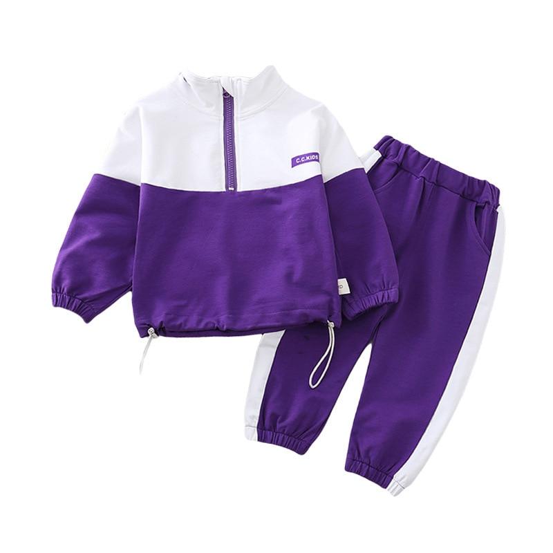 Spring Autumn Children Boys Girls Clothes Suit  Baby Solid Jacket Pants 2Pcs/sets Toddler Active Cotton Clothing Kids Tracksuits