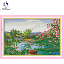 Joy Sunday,creek,cross stitch embroidery,printing cloth embroidery,Scenery pattern cross stitch,Needlework counted cross-stitch