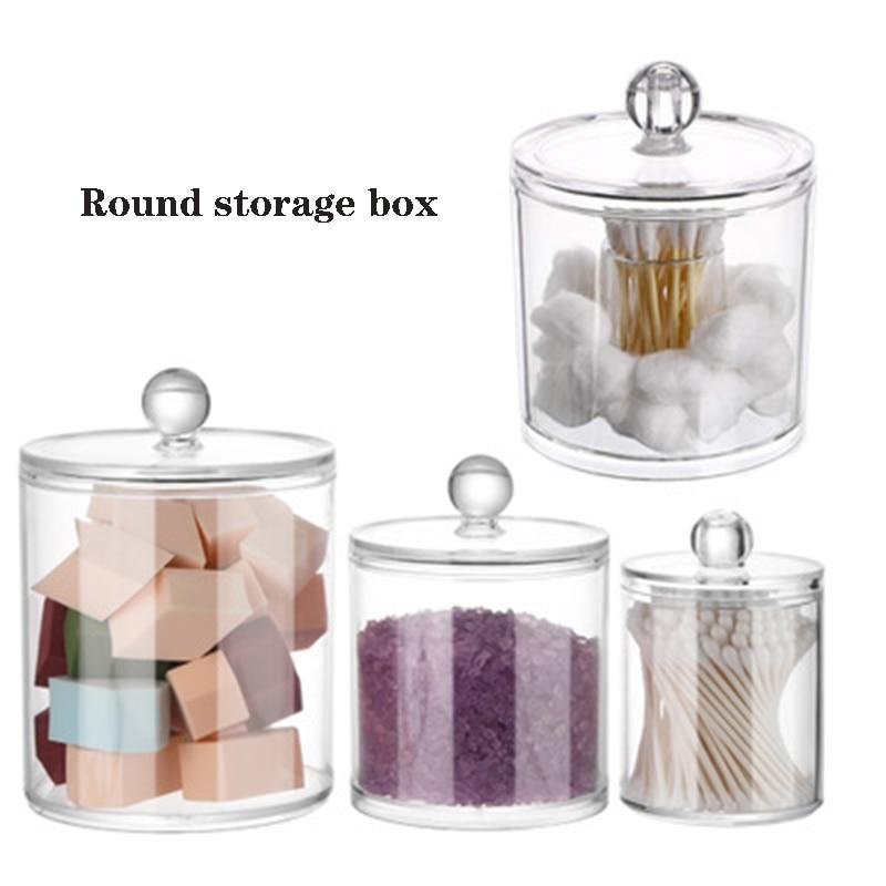 Cosmetic Storage Box Bathroom Organizer Storage Box Cotton Ball Qtip Holder Acrylic Clear Storage Jar Dustproof Waterproof