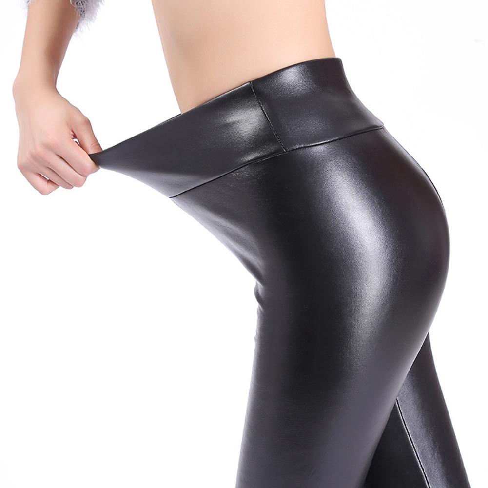 Ladies Large Size PU Imitation Leather Stretch Elastic Leggings Fashion Casual Slim High Waist Plus Velvet Warm Leather Pants