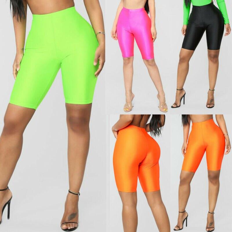 High Waist Sports Shorts Women Biker Shorts Summer Skinny Fitness Solid Bodycon Cycling Bottoms 4