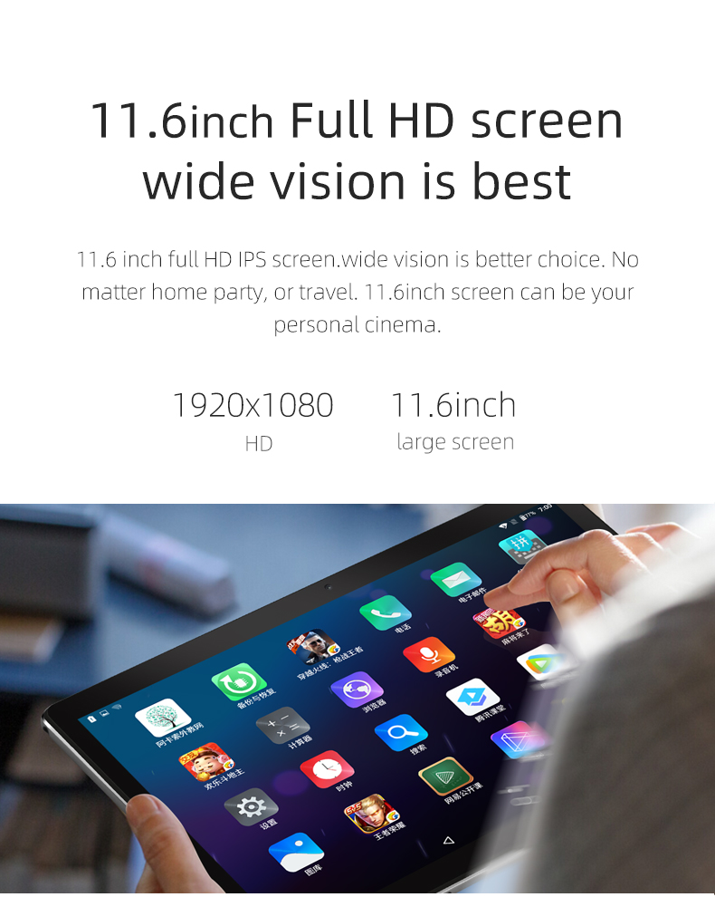 11.6 Inch Tablet 2 in 1 1920*1080 8000mAh 10 Deca Core Android 8.0 Tablet Pc 4G Lte 4 GB RAM 128GB ROM Dual Cameral 5MP + 13MP