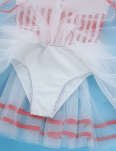 Image 5 - Kids Girls Short Lace Sleeves Striped Mesh Tutu Ballet Figure Skating Dress Gymnastics Leotard Performance Dance Wear Costumes