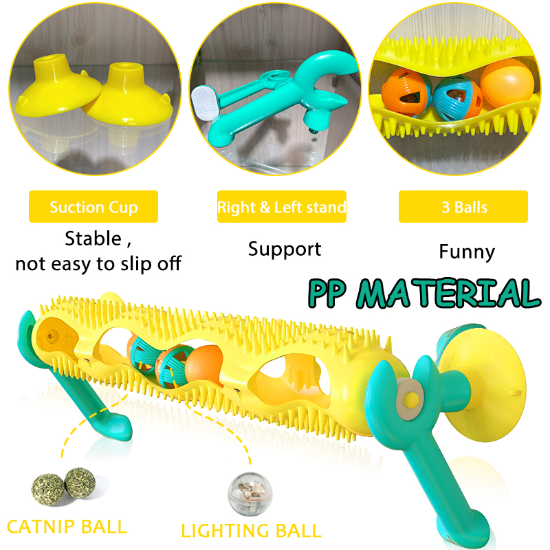 Cat Track Ball Toy with Sucker Luminous Massage Interactive Game with Catnip Window Suction Cup Trackball Intelligence Pet Toy img2