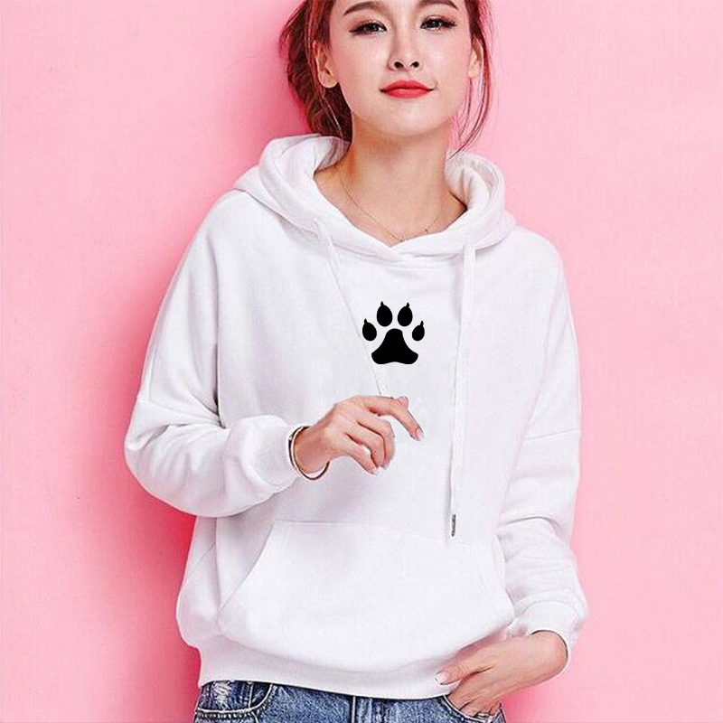 Dog Mom Footprint Hoodies Harajuku Hoodies Women Kawaii Graphic Sweatshirt Femmes Pattern Female Sweatshirts Poleron Mujer