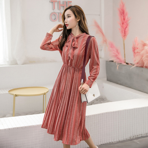 Long Sleeve Chiffon Dress Korean Fashion  1