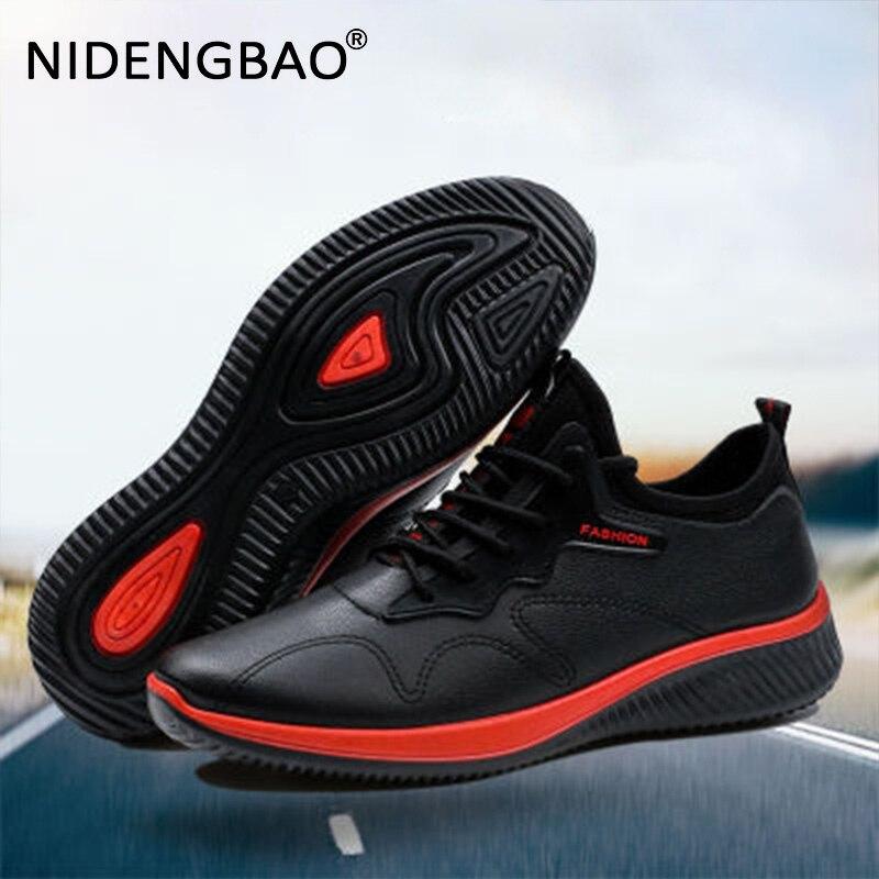 Men Running Shoes Comfortable Leather Sneakers Waterproof Sport Shoes For Male Black Outdoor Walking Shoes Anti-Slip Footwear