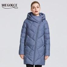 Chaqueta de abrigo de invierno miegfce 2019 para mujer con cremallera curva de varios colores insólitos que da a la modelo un estilo especial