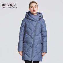 MIEGOFCE 2019 kış kadın koleksiyonu kadın sıcak ceket ceket çeşitli sıradışı renkler eğri fermuarlı verir Model özel bir stil
