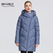 MIEGOFCE 2019 Зимняя женская коллекция женская теплая куртка сделан с настоящего биопуха женская зимняя куртка ветрозащитный стойкий воротник с капюшоном кривая молния что придает этой модели особенный стиль