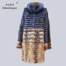 Linhaoshengyue 90cm uzun gerçek gümüş tilki kırmızı tilki kürk ceket