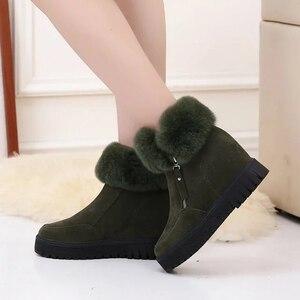 Image 2 - SWYIVY espadrilles décontractées femmes chaussures compensées femme bottes dhiver 2019 neige chaude plate forme femme chaussons court en peluche bottines femme