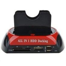 Многофункциональный HDD док-станция Dual USB 2,0 2,5/3,5 дюймов IDE Внешний жесткий диск SATA коробка жесткий диск Корпус кардридер