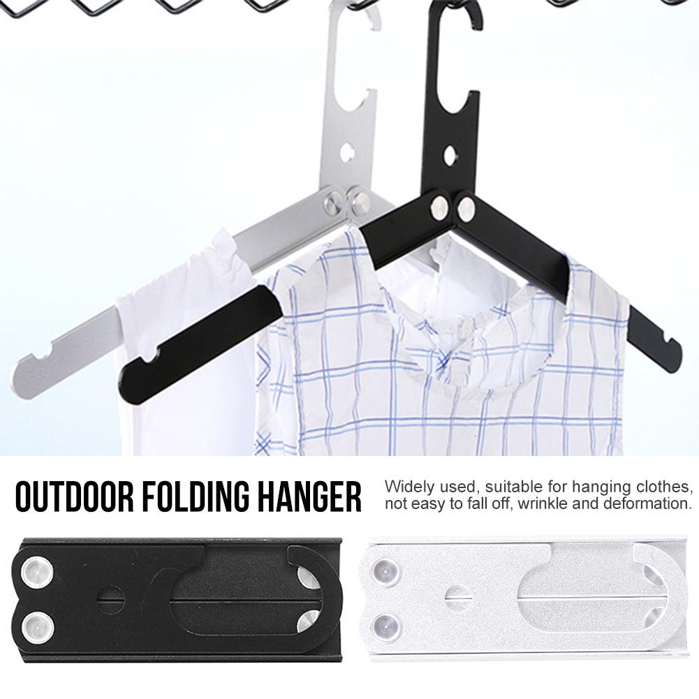 Portable Travel Clothes Hanger Non-Slip Sturdy Aluminum Alloy Foldable Rack Outdoor Drying Clothe Storage Closet Organizer 4