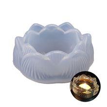 1pc Silicone Lotus Candle Holder Storage Box Ashtray Casting Mold, Epoxy Resin Molds, Stone Crystal Column Pendant