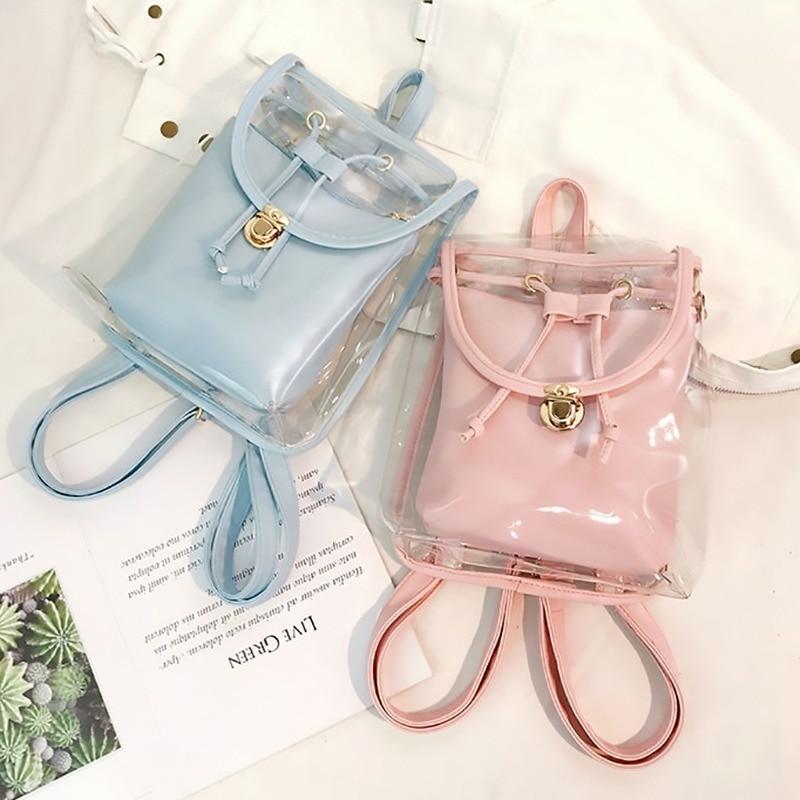 Rucksack Women Transparent Bagpack Jelly Mini Backpack Summer School Bag College Back Pack For Girls Mochila Transparente 2019