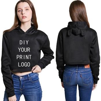 цена на Custom Made Hoodies Women Customized Long Sleeve Pullover Tops Sweet Short Hoodie Oversized DIY Logo Hooded Sweatshirt