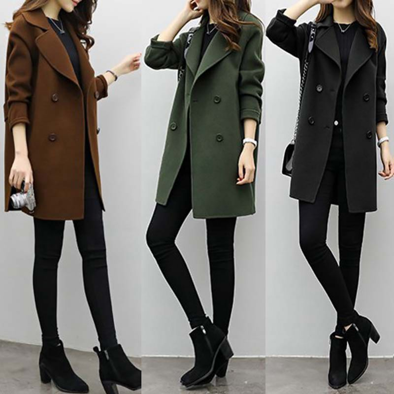 2020 Autumn Spring Warm   Trench   Female Overcoat Medium-Long Women Slim Type Coat Double-breasted   Trench   Outfit