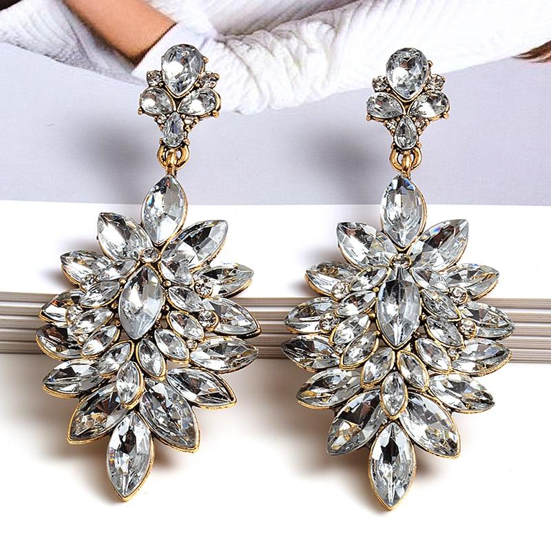 Оптовая продажа, серьги в форме цветка, чистый белый кристалл, высокое качество, модные серьги со стразами, ювелирные аксессуары для женщин