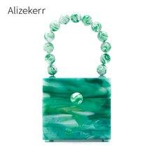 Bolso de mano de noche con caja de acrílico para mujer, cartera de mano de noche con patrón de piedras de lujo con cuentas, diseño verde, para fiestas y cenas