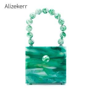 Image 1 - Okno akrylowe wieczorowa kopertówka damska luksusowy wzór z kamieniem zroszony twarda torebka damska projektant zielona kopertówka nowość