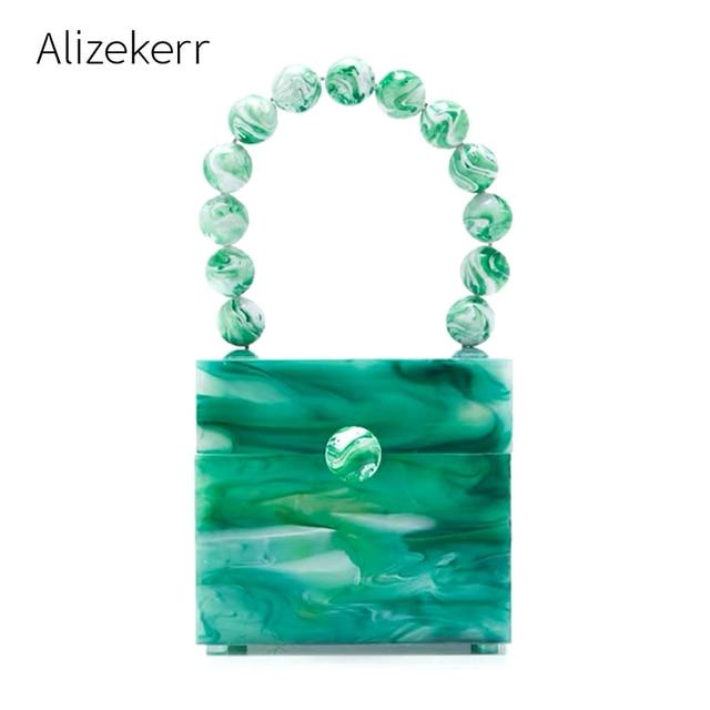 Okno akrylowe wieczorowa kopertówka damska luksusowy wzór z kamieniem zroszony twarda torebka damska projektant zielona kopertówka nowość