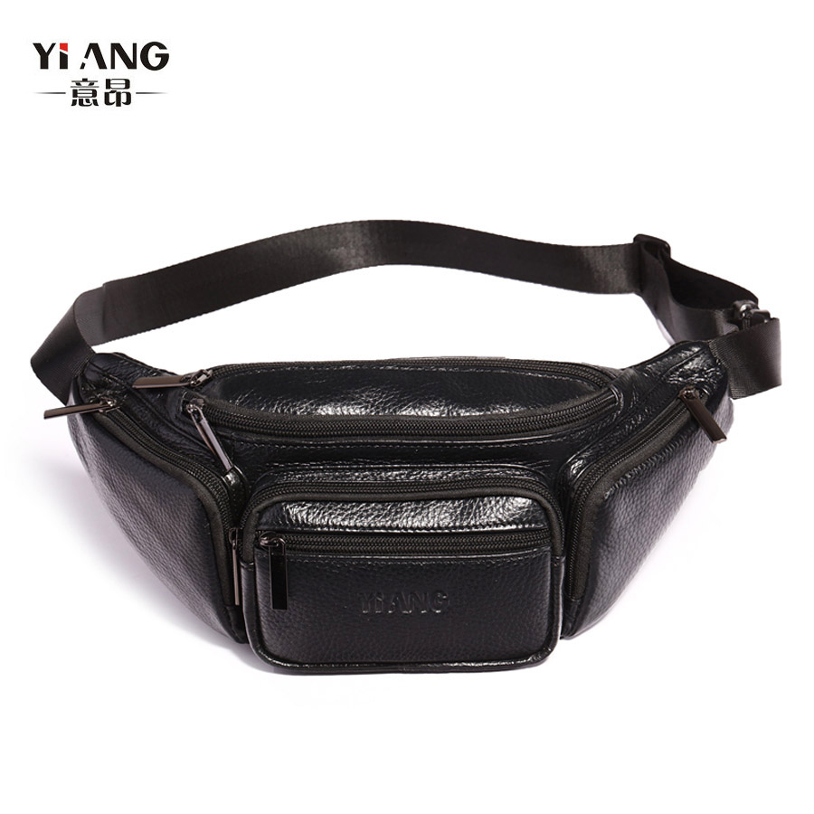 YI'ANG Brand Genuine Leather Casual Trave Waist Fanny Pack Men's Cross Body Shoulder Bag Male Cowhide Messenger Bags
