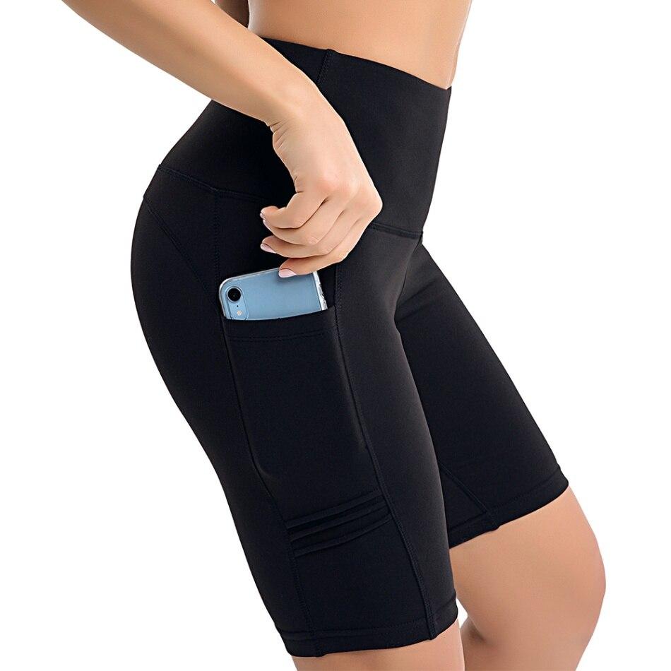 Женские шорты для йоги с высокой талией, штаны для йоги, для тренировок, бега, компрессионные шорты, для контроля живота, с боковыми карманами, для упражнений, для спортзала, для дома, шорты - Цвет: black