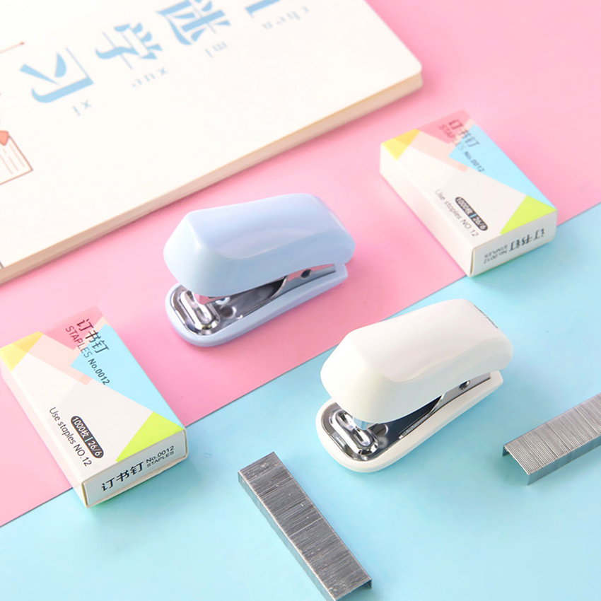 1 Set Mini Stapler With 1000 Standard Staples, 12 Sheet Capacity, Built-in Staple Remover, Paper Binding Tool For Home Office