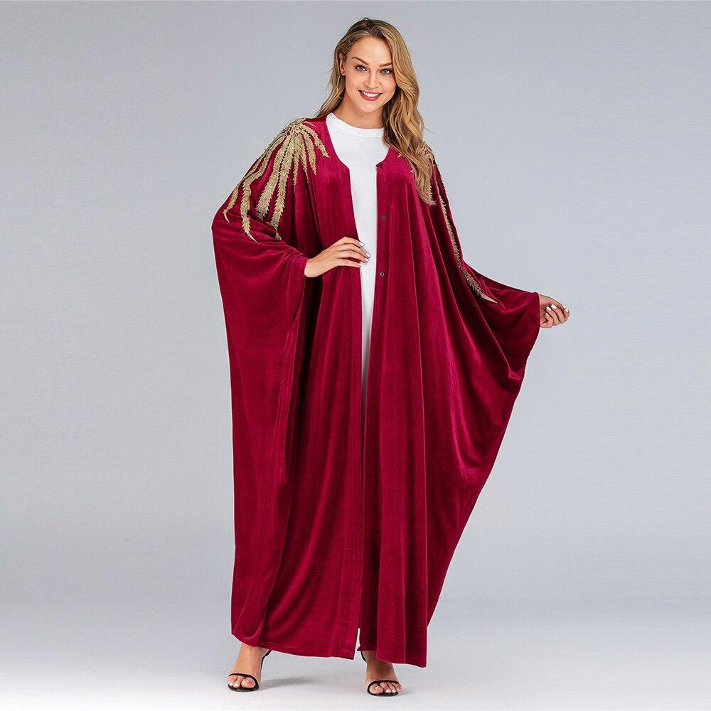 Abaya Dubai Bat Shape Dressing Gowns for Women Winter Abaya  Open Abaya Velvet Gold Leaves Embroidery Oversize Islamic Clothing