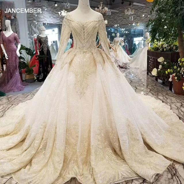 LSS088 luxury dubai glitter wedding gowns o neck long sleeve shiny lace flowers wedding dresses long train latest new design
