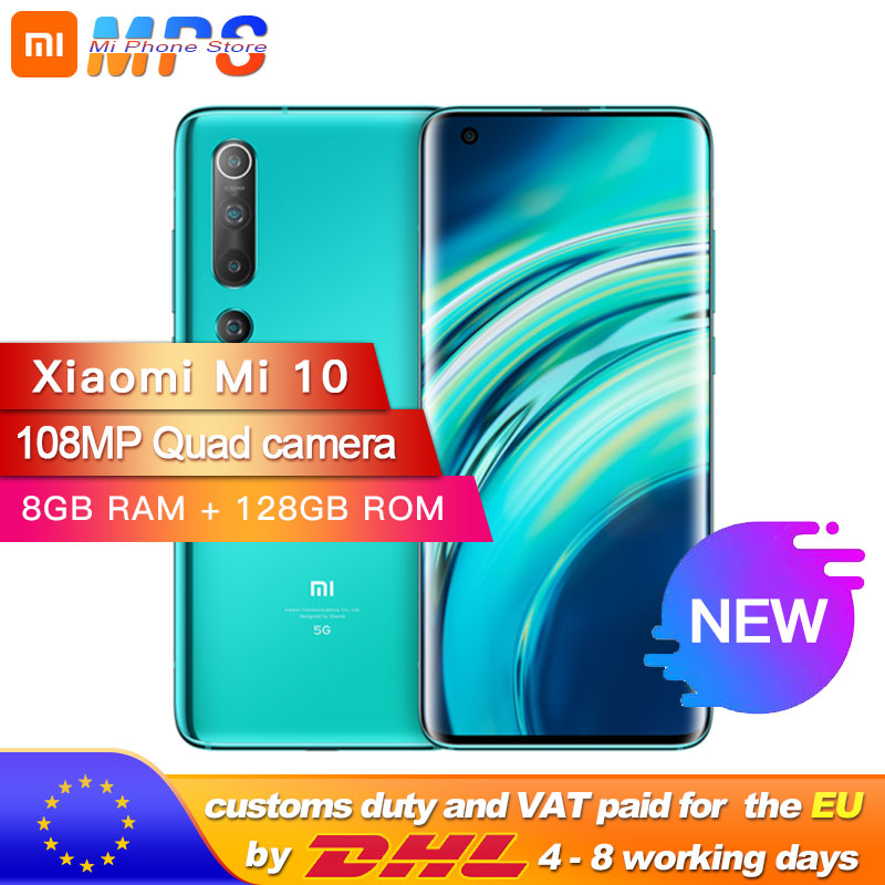 Global Version Xiaomi Mi 10 8GB 128GB Smartphone 5G 108MP Mobile Phone Snapdragon 865 Octa Core 6.67