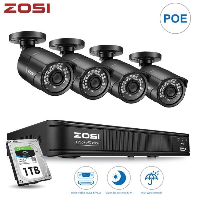 ZOSI 4CH H.265 POE וידאו מעקב אבטחת cctv המצלמה מערכת עם 2MP videcam עמיד למים חיצוני אבטחת מצלמות NVR ערכה