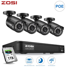 ZOSI 4CH H.265 POE video surveillance cctv security camera system with 2MP videcam waterproof outdoor security cameras NVR Kit