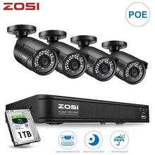 Zosi 4ch h.265 poe sistema de câmera de segurança cctv vigilância vídeo com 2mp videcam à prova dnvr água ao ar livre câmeras de segurança nvr kit