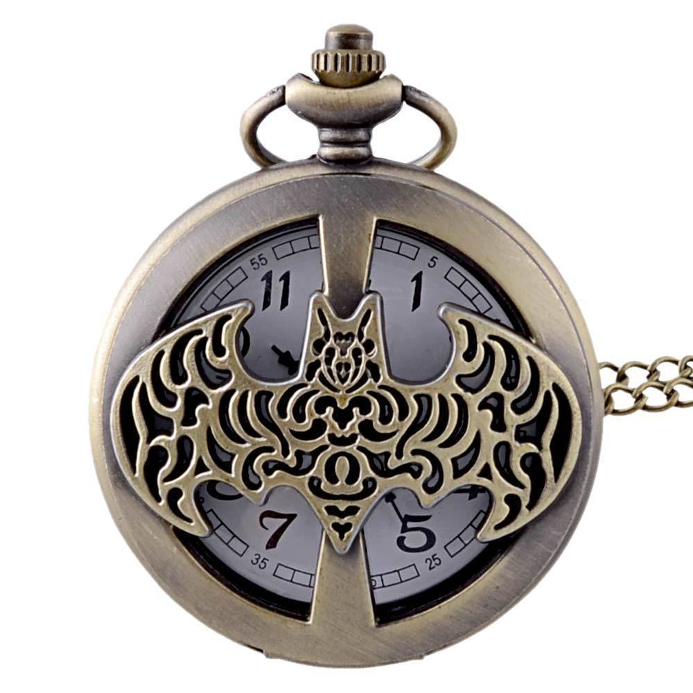 IBEINA Batman Watch Vintage Pocket Watch Theme Full Hunter Quartz Engraved Fob Retro Pendant Pocket Watch Chain Gift