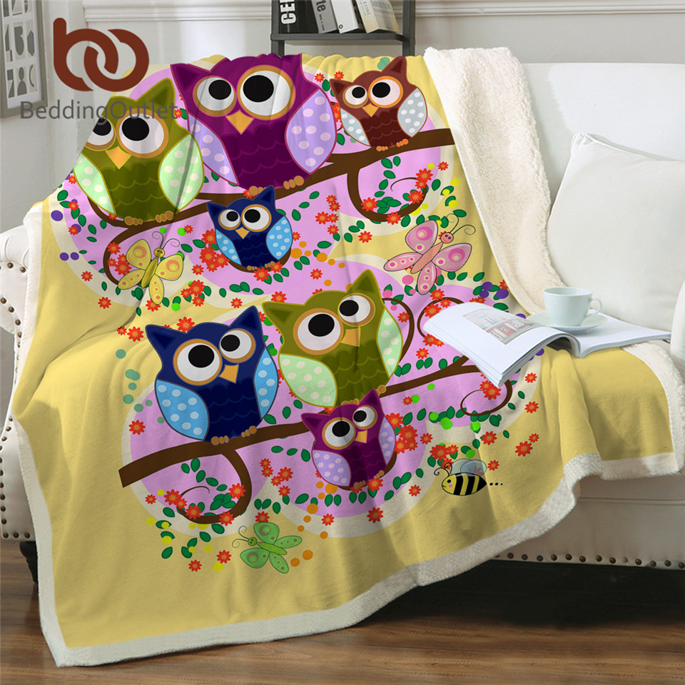 BeddingOutlet Owls Fluffy Blanket Colorful Furry Bird Sherpa Blanket Watercolor Bedding Galaxy Throw Blankets For Beds 150x200cm