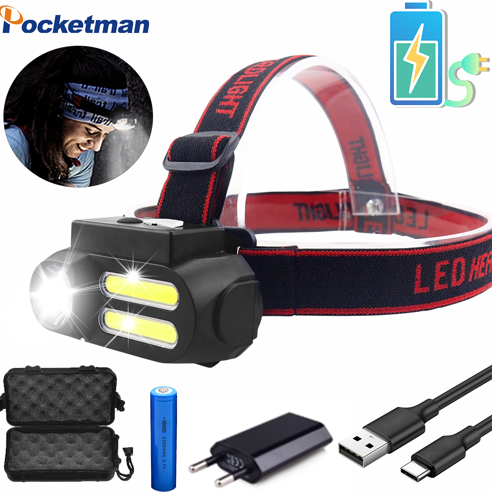 Utral Bright LED Headlamp COB Work Light 4 Lighting Mode Waterproof Headlight Powered By 18650 Battery Suit For Night Lighting