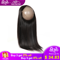 Soft Feel Hair Brazilian Straight Hair 360 Frontal Closure Remy Human Hair 360 Lace Frontal Closure With Baby Hair Middle Ratio