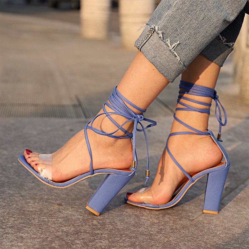 INS Hot Women Sandals Summer Woman Sexy Mid Heel Shoes Female Sexy Cross Straps 2020 Ladies Fashion Casual Outdoor Footwear