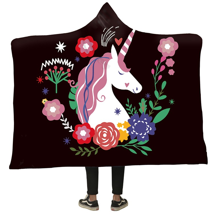 Winter Blanket Sweatshirt Unicorn Cartoon 3D Printed Plush Hooded Blanket for Adults Kid Warm Wearable Fleece Throw Blankets 1