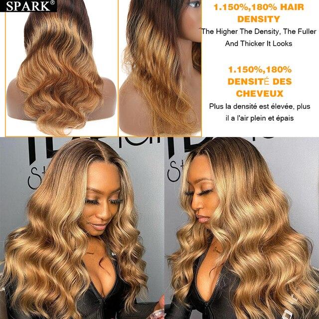 شرارة أومبير تسليط الضوء على الجسم موجة 4x4 الدانتيل إغلاق شعر مستعار 30 32 بوصة 180% الكثافة البرازيلي مموج 13x4Lace أمامي خصلات الشعر المستعار الإنسان ريمي 3